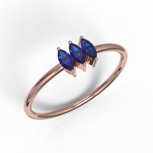 Solid Rose Gold 3 Marquise Cut Blue CZ Ring